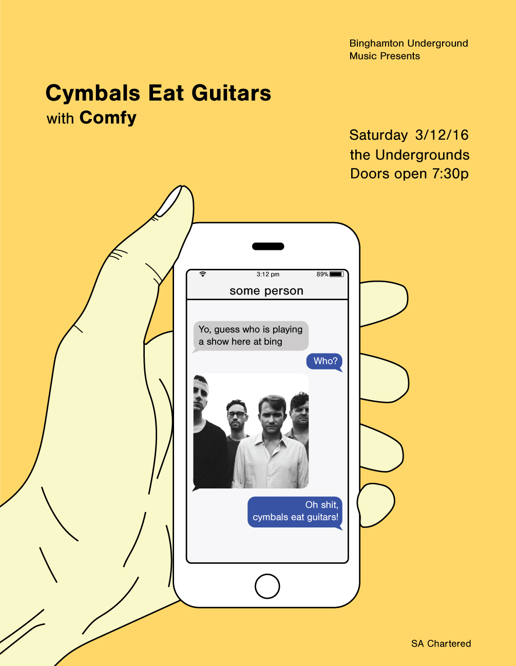 Concert poster for Cymbals Eat Guitars on phone