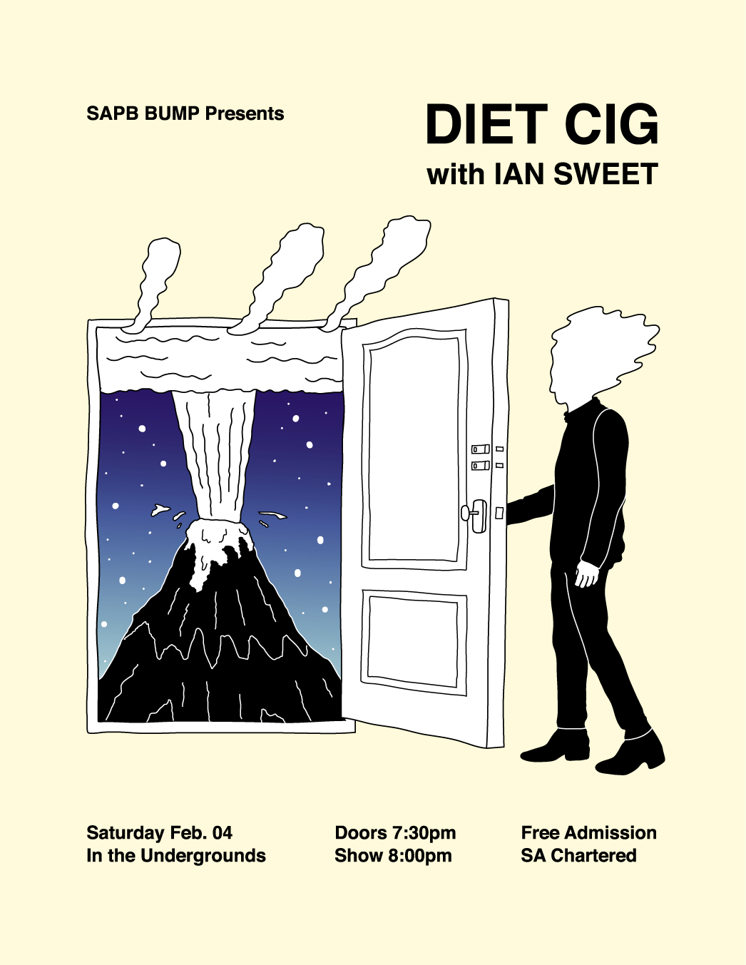 Concert poster for Diet Cig and Ian Sweet