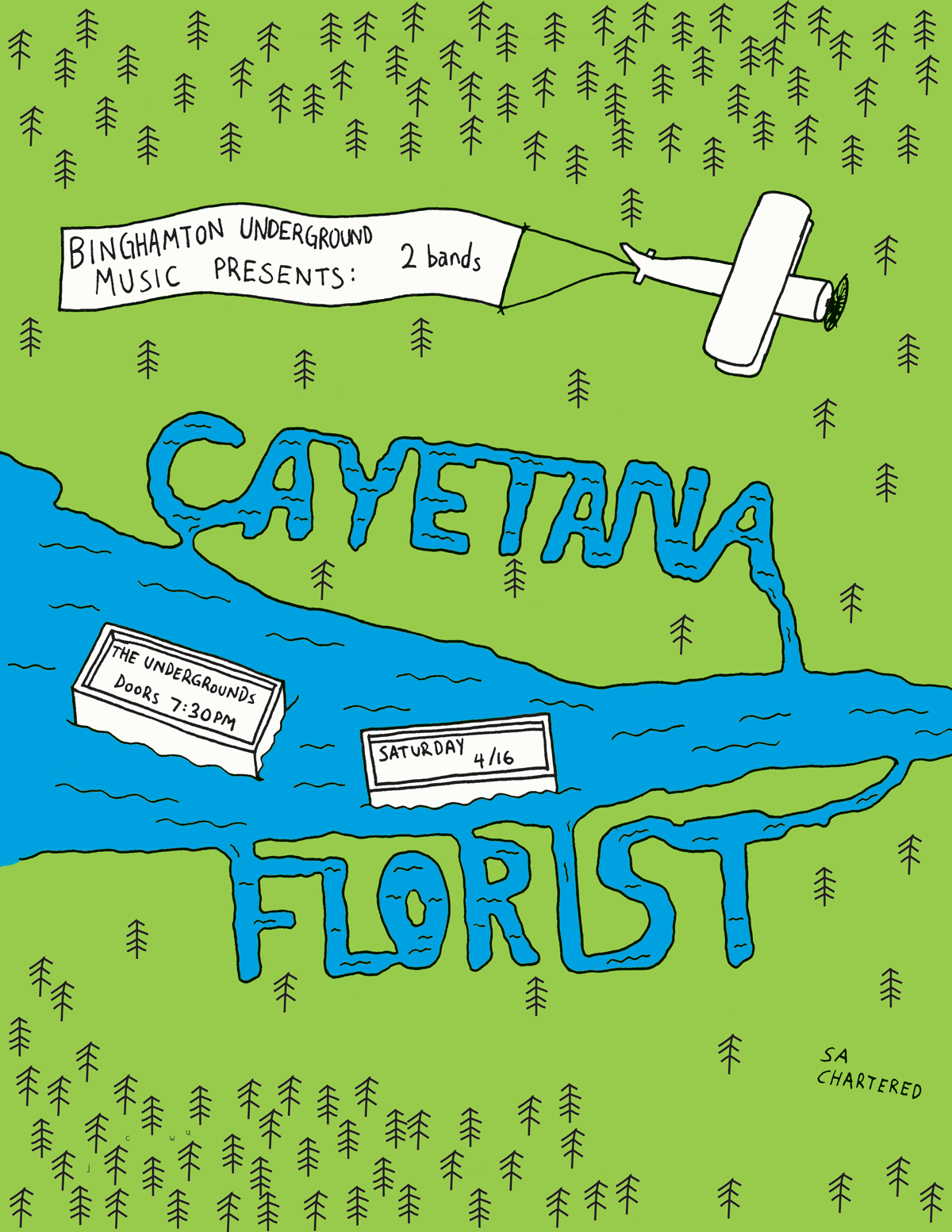 Concert poster for Florist and Cayetana in Binghamton