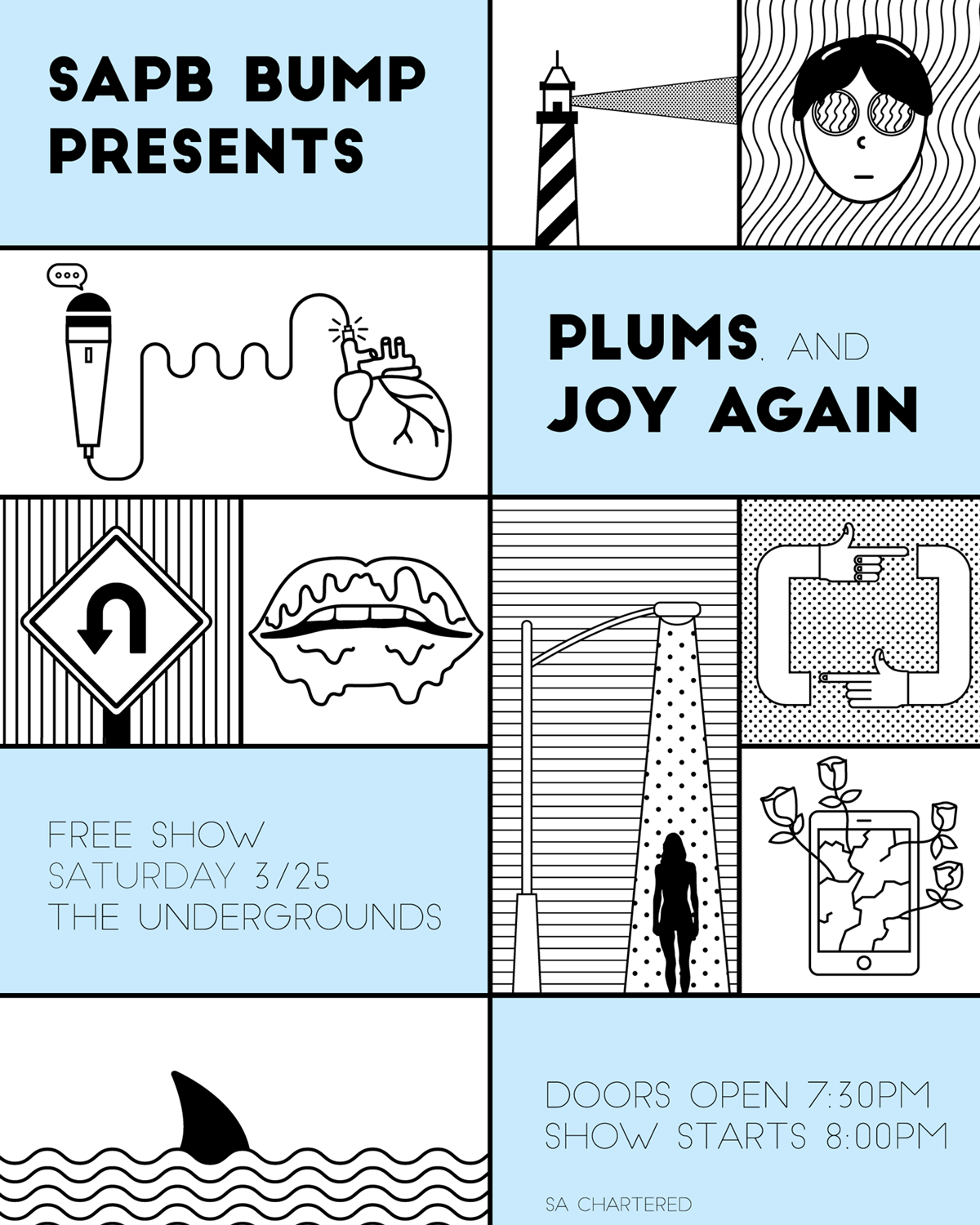 Illustration show flyer for the indie rock bands Joy Again and Plums
