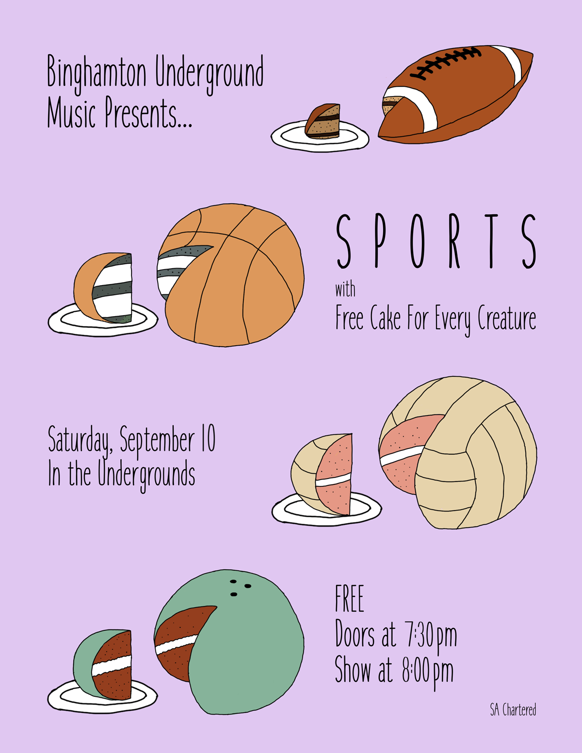 Funny concert poster for SPORTS and Free Cakes for Every Creature showing sports as cakes